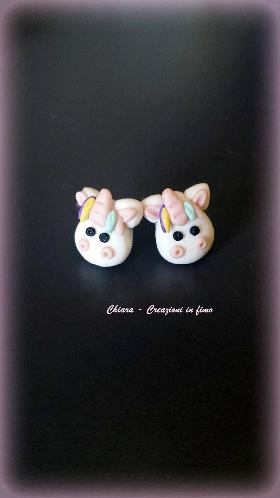 Boucles D Oreilles Puces Licorne En Fimo Fait A Main Idee Cadeau