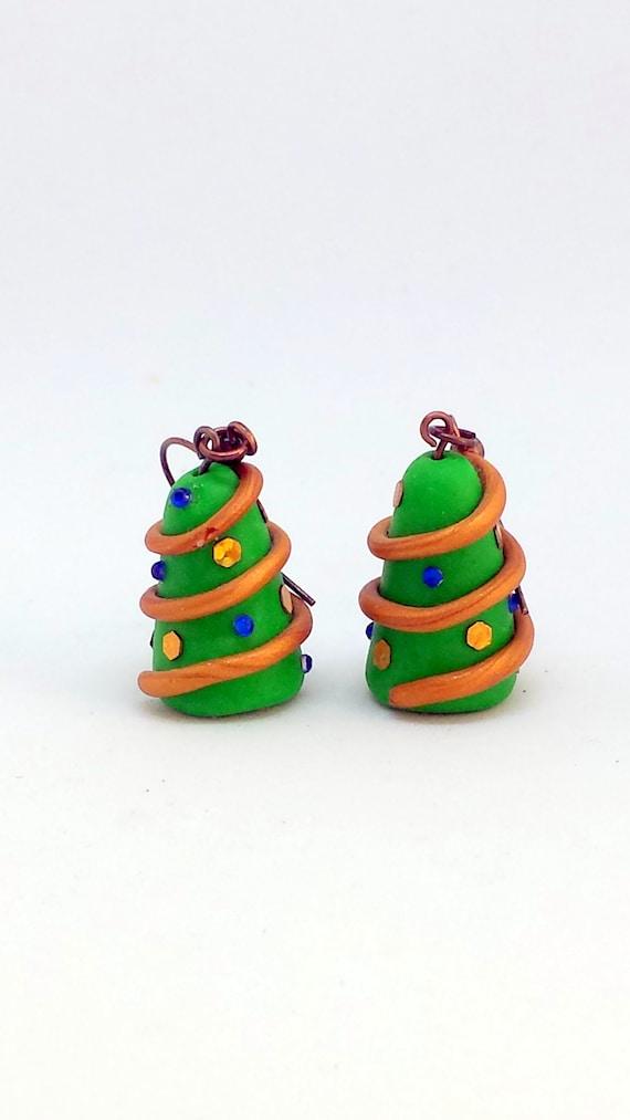 Polymer Clay Christmas Jewelry.Christmas Tree Earrings In Polymer Clay Christmas Jewelry For A Womens Christmas Gift Christmas Clearance
