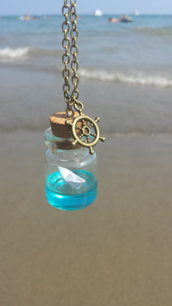 3814622b1a1a Summer jewelry, Paper Boat bottle necklace, origami jewelry for a  wanderlust gift, make a wish jewelry, beach jewelry, nautical necklace
