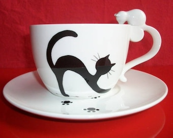 """Lunch with a """"cat stretching"""" lunch porcelain, lunch, hand painted breakfast Cup Saucer, teen adult"""