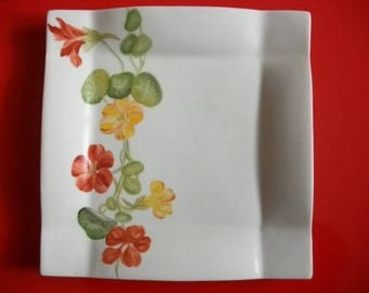 """Plate decorated with """"Climbing nasturtiums"""" plate in Limoges porcelain plate hand painted, square plate, tableware"""