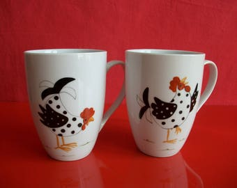 """Mugs decorated with a """"hen singing"""" and """"Curious chicken"""", Limoges porcelain mugs, hand painted mugs, mugs, tea, coffee mugs"""