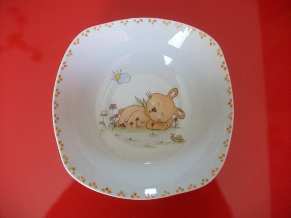 Limoges porcelain children/'s plate decorated with a Mouton carrying a flower round hollow plate painted by hand.
