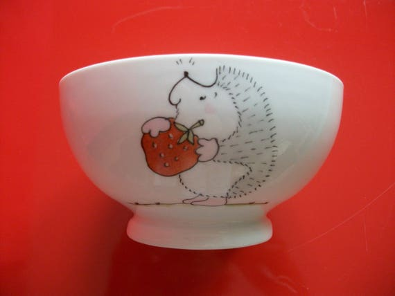 tea coffee adult child/'s bowl Limoges porcelain Custom decorated Bowl Hedgehog wearing a strawberry chocolate Bowl Bowl handpainted