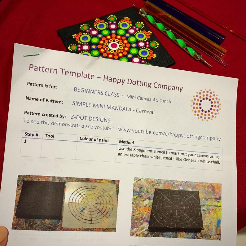 Mandala Pattern PDF Instant download Beginners Small 4 x 4 inch