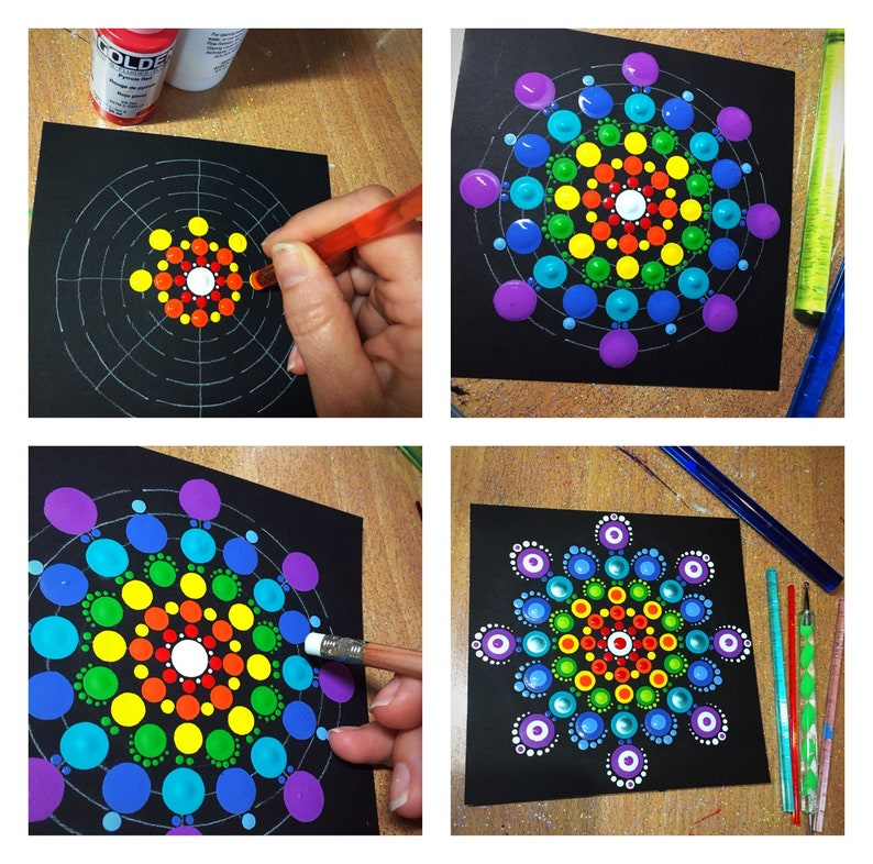Dot Painting Mandala Kit , 9 dot painting tools, stencil, guide and more!
