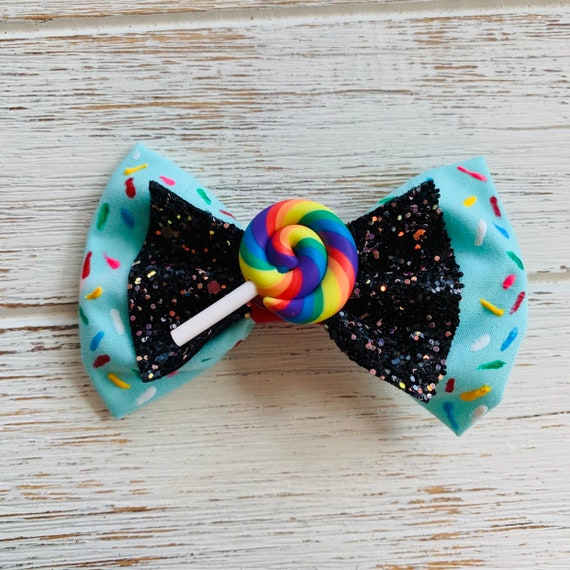 """Baby//Girls 4/"""" /""""Candy Bow/"""" Satin Ribbon Bow with Diamante on Alligator Clip"""