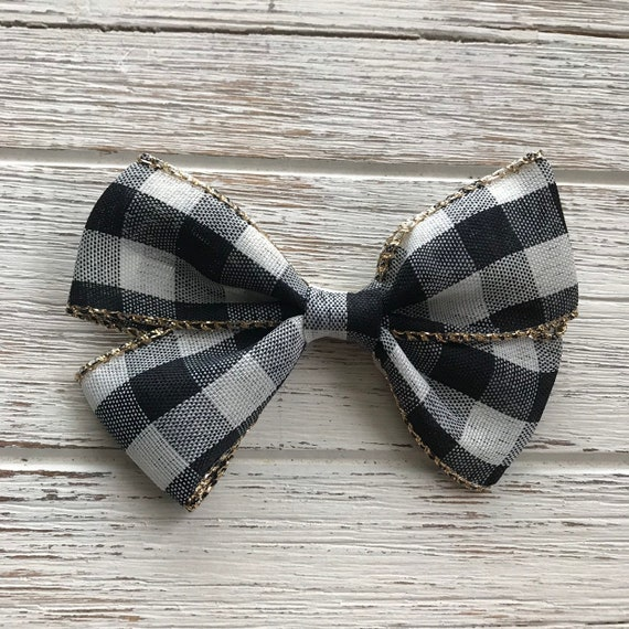 Holiday Black And White Checkered Ribbon Bowchristmas Ribbon Etsy