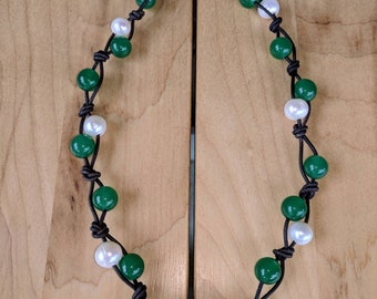 Ready to Ship today Free Shipping Land /& Sea Jewelry Big Freshwater Pearls and Leather Necklace with round 12mm African Turquoise