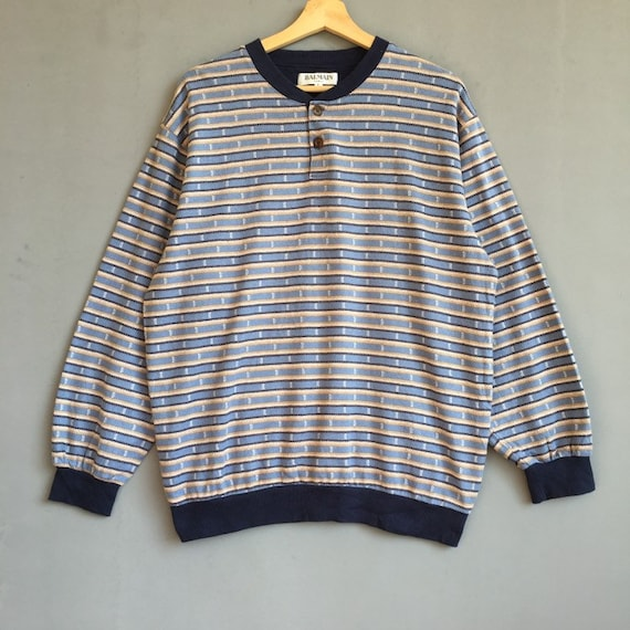 Rare!! Vintage Balmain Monogram Sweatshirt Pullove