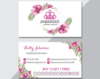 paparazzi business card custom paparazzi accessories punch card back office logo fast free personalization modern business card pa04 - Paparazzi Business Card Template