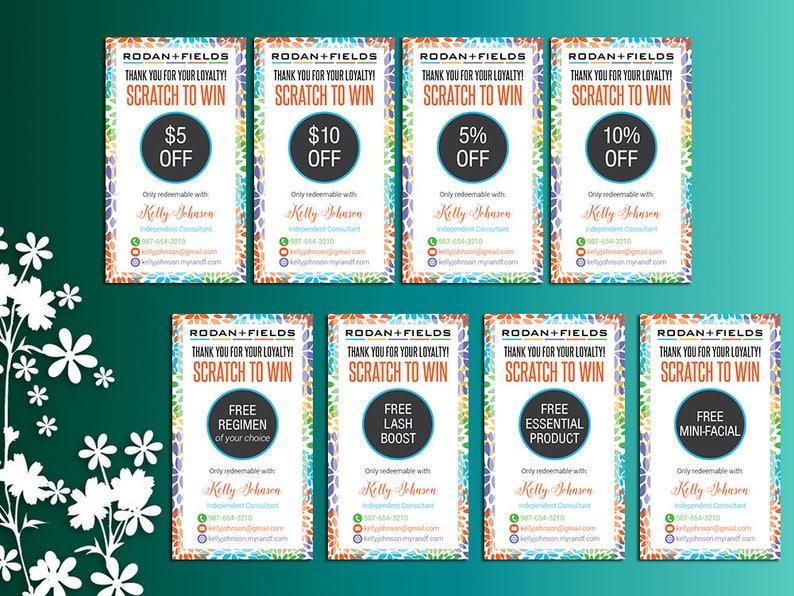 Rodan and Fields Scratch Off Card, Rodan + Fields Loyalty Rewards, Rodan  and Fields Prize Cards, Scratch to Win, Digital Files RF01