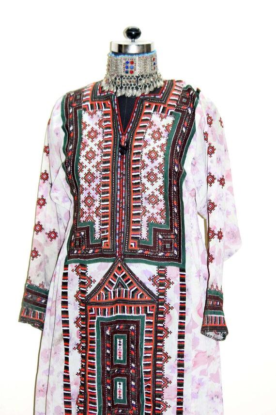 Banjara Textile tribal Afghani balochi Vintage Work handembroidered baluchi baloch gypsy Pakistan dress tunic hippie dress bohemian Girlstop tqwEPAwB