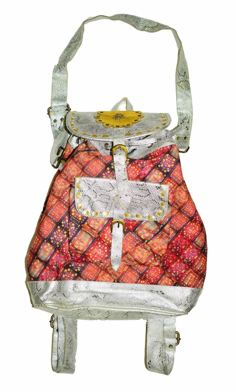 Vintage Banjara Gypsy Leather Handbag Bag Banjara Silver leather Backpack Bags,Printed Textile Indian Hip Banjara Suede Leather Shoulder Bag