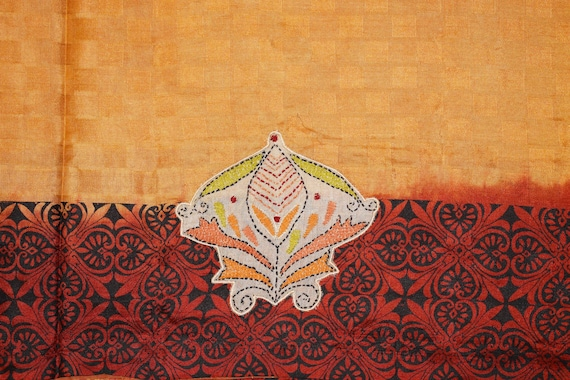 Free Shipping Indian Antique Vintage Indian 100/% Pure Silk Brown and Cream Saree Woven Ethnic Decor Sari Ethnic Used Craft Fabric Wear 5Yard
