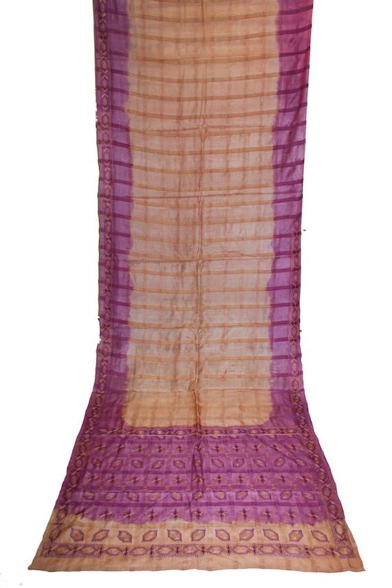 Vintage Beautiful Antique Indian Kantha West Bengal Saree 100/% Pure Silk Saree Multi Hand Embroidery Thread Work Sarong 5 YD Fabric Old Sari