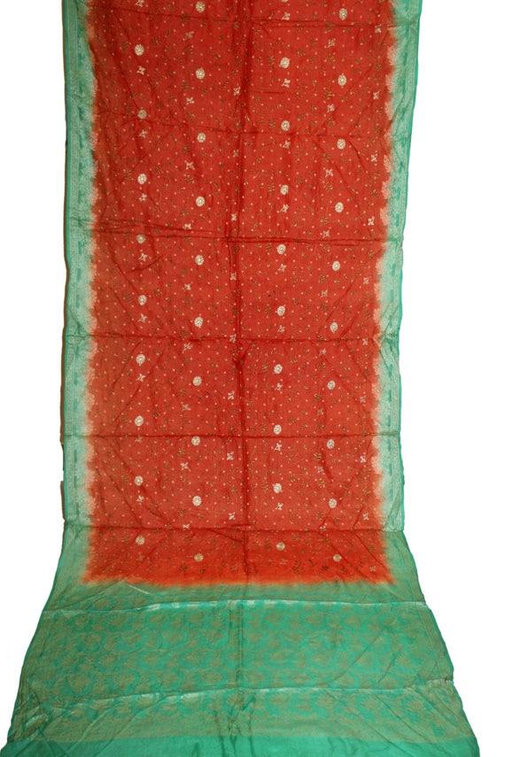 Vintage Handmade Embroidery Indian Silk Sareeparty Wear Sari Etsy