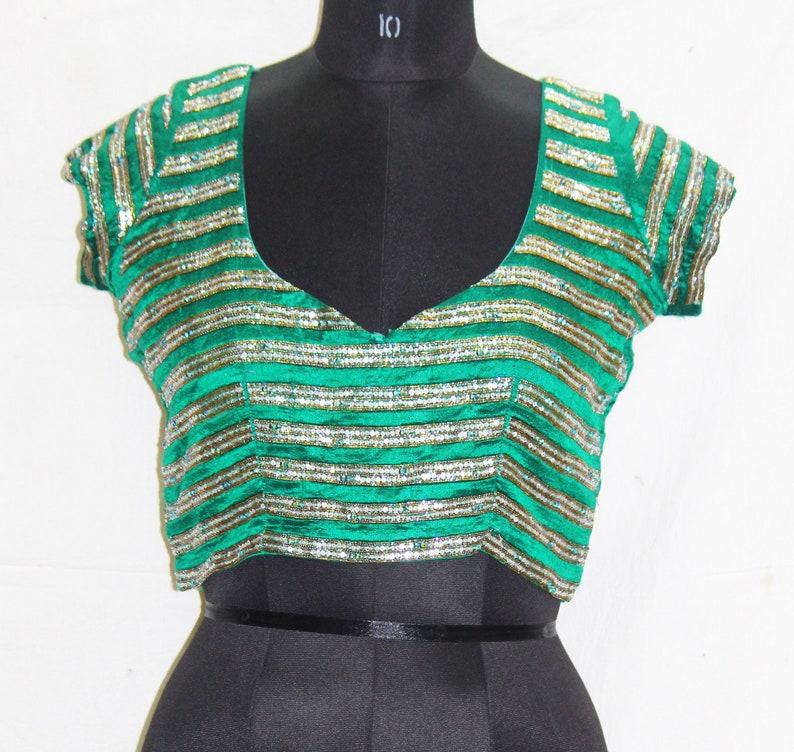 32f9a758da67e Vintage Womens Beaded 80s Tops Green Dupion Silk Blouse Short