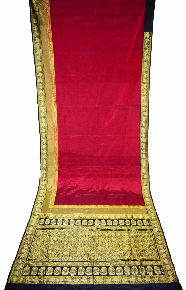 Vintage Indian Banarasi Heavy Antique Saree Pure Silk Border Etsy