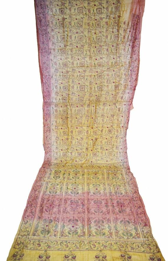 Indian Beautiful Vintage Pure Silk Saree Fabric Kantha /& Thread Work Sarong Wrap Craft Decor Women Home Dress Sari 5yd MIX50