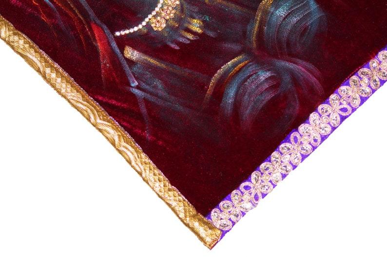 Indian Antique Rajasthani Rajput Girls 100/% Real Handmade Painted Hand Beaded Work Dupatta Banjara Painted Fabric Velvet Royal Stole Scarf