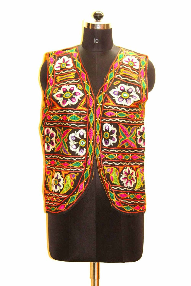 Vintage Ethnic Gujarati Rabari Traditional Rajasthani Badmeri 100% hand  embroidered Mirror Work Designer Pakkowork Wholesaler Open Jacket