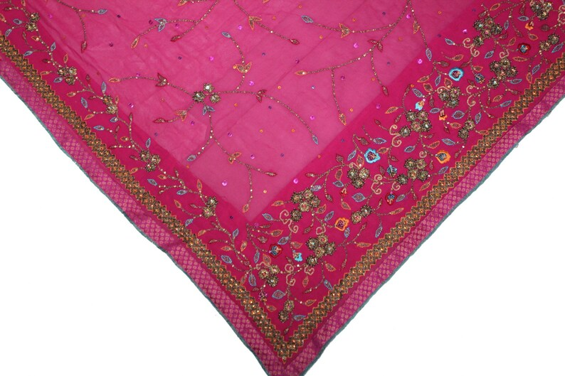 Ethnic Indian Vintage Dupatta Long Stole Pure Georgette Pink Hand Beaded Gold Dori Zardozi Work Wrap Veil Hijab Scarf Wedding Women Dupatta