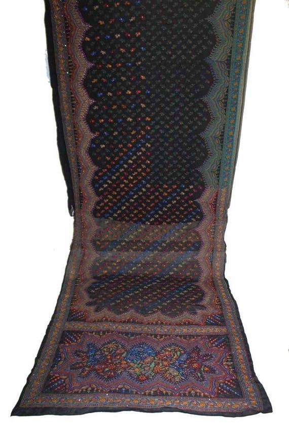 Vintage noir Multi chaud incroyable broderie Multi noir Floral magnifique Saree tissu Georgette pur fil tissé Work.Sarong mariage Sari.5YD 7010d4