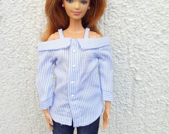 Barbie clothes button up blue striped blouse shirt top with straps