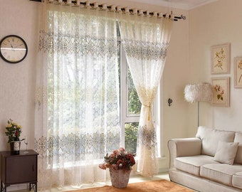 Elegant Sheer Curtains Window Curtains for Living Room Tulle Curtains Panels Embroidery Curtains for Bderoom Custom Sizes Available