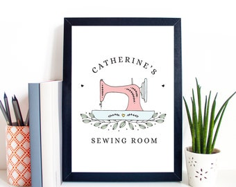 Personalised Sewing Room A4 or A5 Print, Unframed, Sewing Room Sign, Gift for Seamstress, Sewing Machine Print