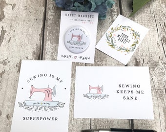 Sewing Postcards and Magnet Pack, Sewing Room Print, Sewing Room Sign, Sewing Stationery, Sewing Gift