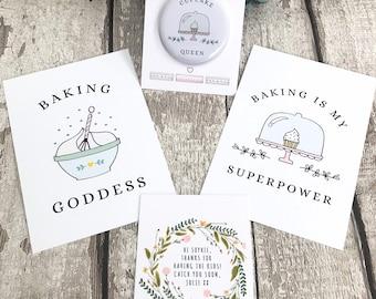 Baking Postcards and Magnet Pack, Baking Print, Cake Baking Sign, Baking Stationery, Baking Gift