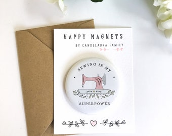 Sewing Superpower Magnet, Large (58mm) Magnet on Cute Backing Card, Gift for Sewer