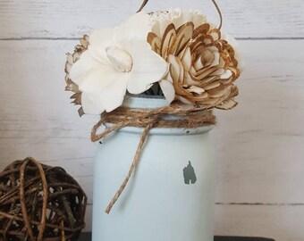 Raw Wood Flower Arrangement in Robin's Egg Distressed Mason Jar