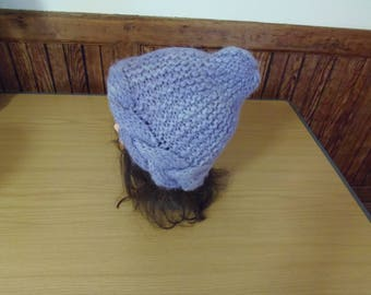Handknitted, handspun, chunky, cabled hat, pure wool.