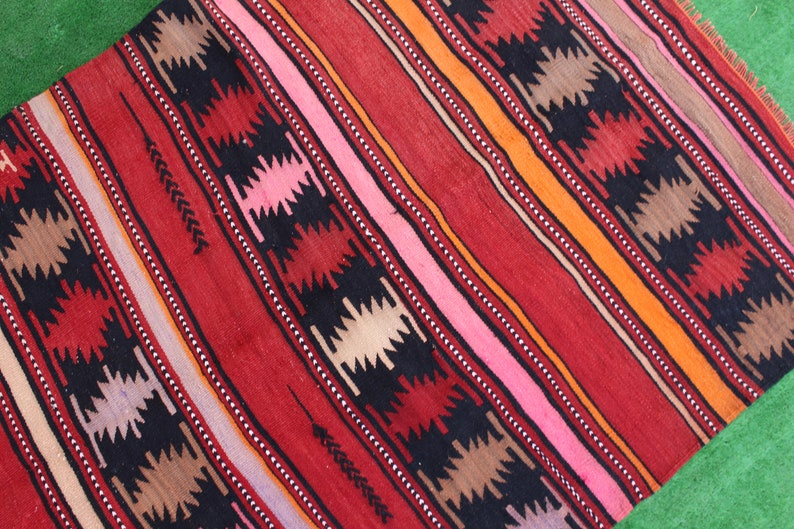 Kelim Rug Turkish Kilim Rug 4/'x3/' ft  Handmade Kilim Rug Embroidery Rug FREE SHIPPING! Striped Hand Woven Kilim Rug Colorful Table Rug