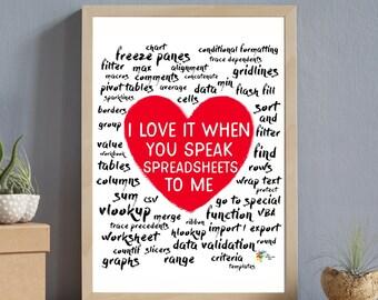 Spreadsheet Art Print for Office - I Love It When You Speak Spreadsheets To Me