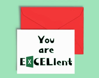 Thank You Card for Coworkers, Employees, Clients. Excel Spreadsheet Humor