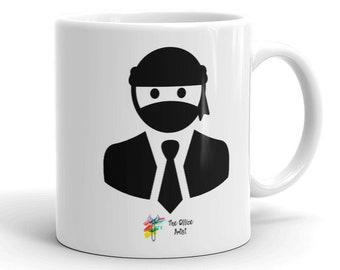 Office Ninja Mug, Ninja Coffee Mug, Funny Office Mug, Funny Office Gift, Ninja in Suit Mug, Ninja Mask Mug, Ninja Warrior Mug, Office Humor