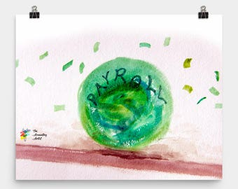Payroll Painting - Rolling Ball of Cash, Payroll Humor, Funny Accounting Poster, Accountant Art, Payroll Gift, Payroll Print, Accounting Art
