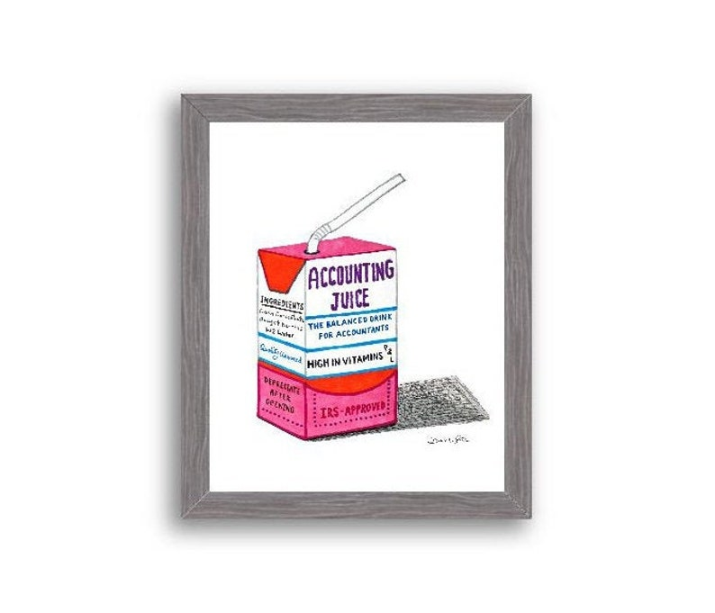 Accountant Art Original  Accounting Juice Charcoal Wood Frame