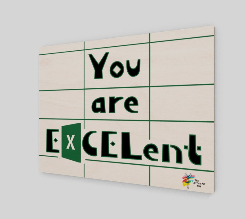 Excel Humor Wall Art Office Print White Background