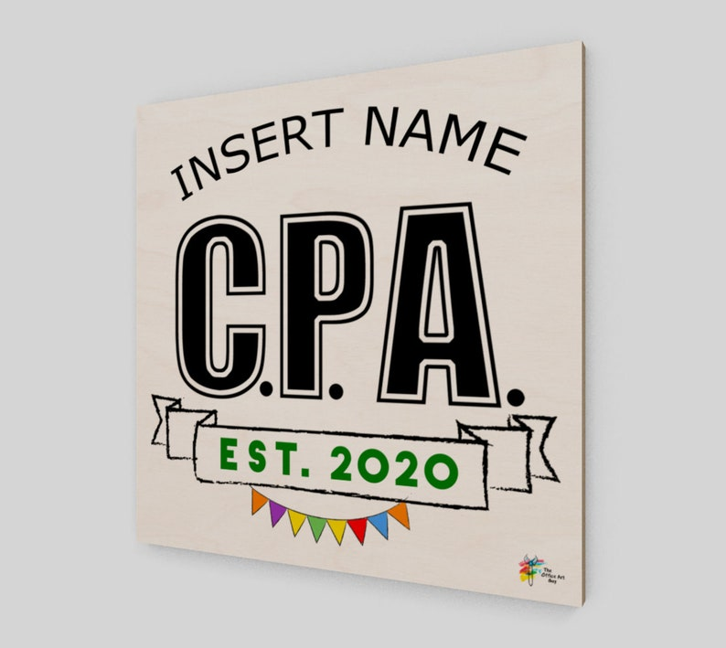 CPA Congratulations Gift Wall Art Birch Wood image 0