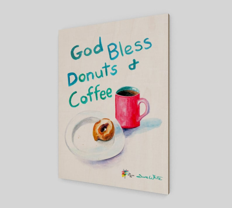 Donuts and Coffee Wall Art Print on Birch Wood Panel image 0