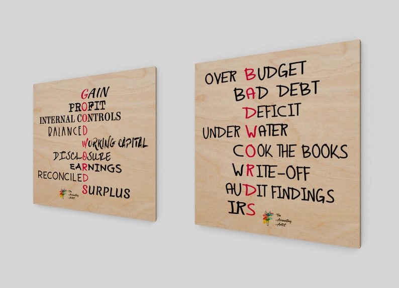 Good Words Bad Words  Two Accountant Art Prints on Birch image 0