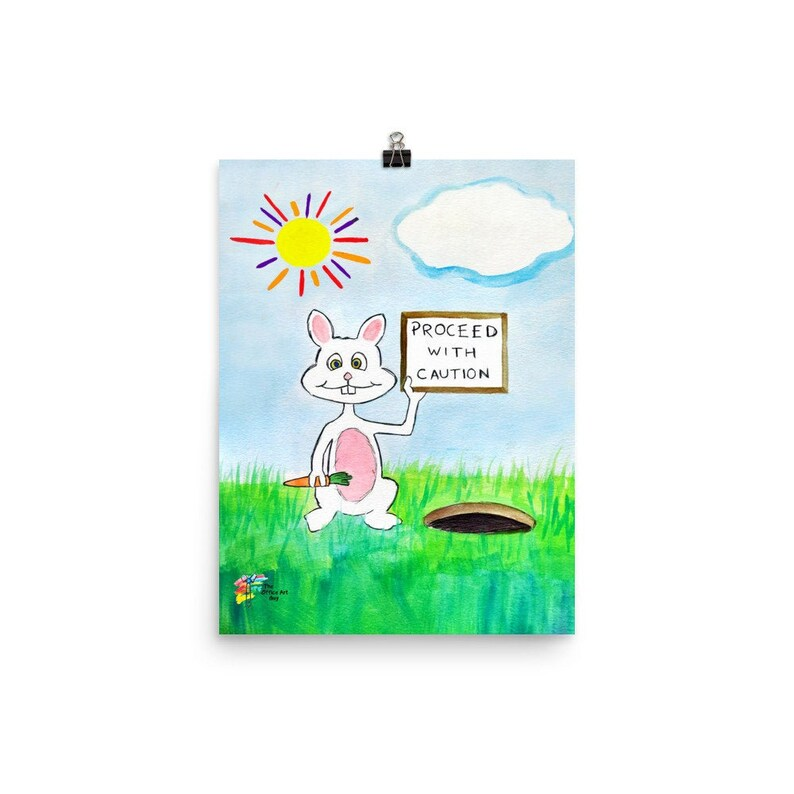 The Rabbit Hole Funny Office Art Print image 0