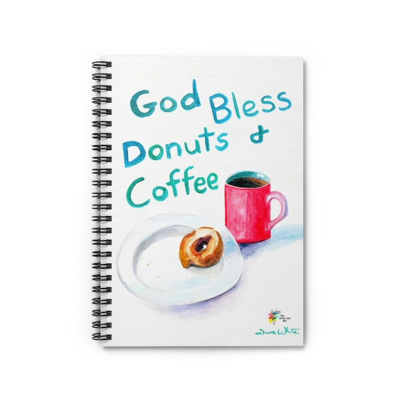Funny Notebook for Office God Bless Donuts and Coffee Spiral Notebook