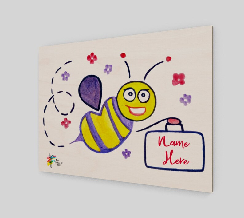 Custom Staff Wall Art Print on Birch Wood Panel Worker Bee image 0