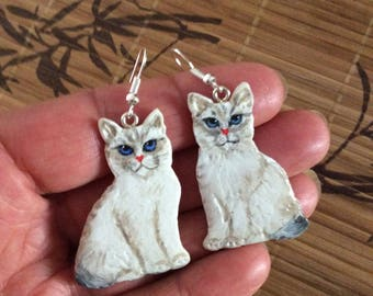 """Cats"" earrings made of cold porcelain"